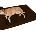 "7"" manufacturer Durable Pet Bed for Big Dogs High quality Orthopedic Memory Foam Dog Bed With Pillow suede Giant pet Lounge"