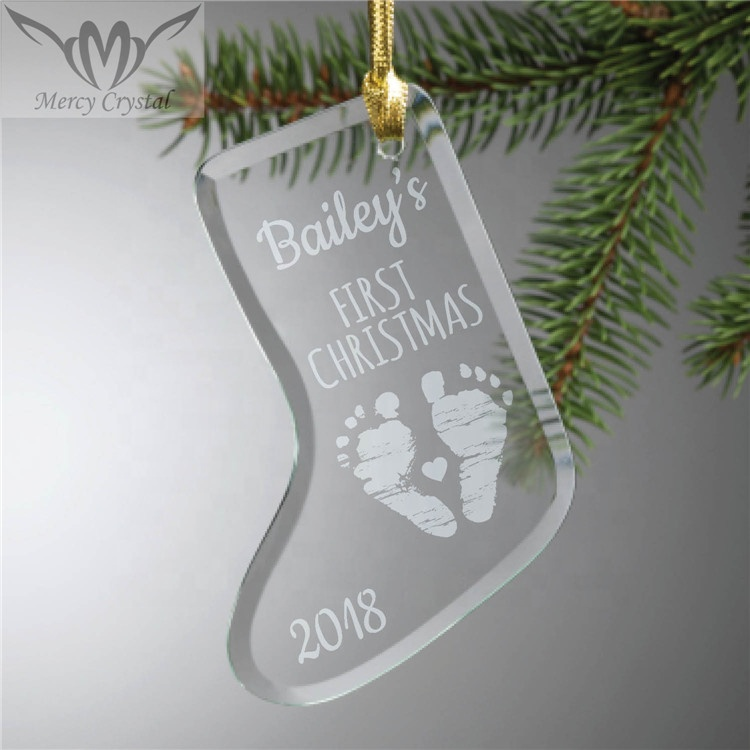Stocking Personalized Glass <strong>Baby</strong> Ornament For <strong>First</strong> <strong>Christmas</strong> <strong>Baby</strong> Gift