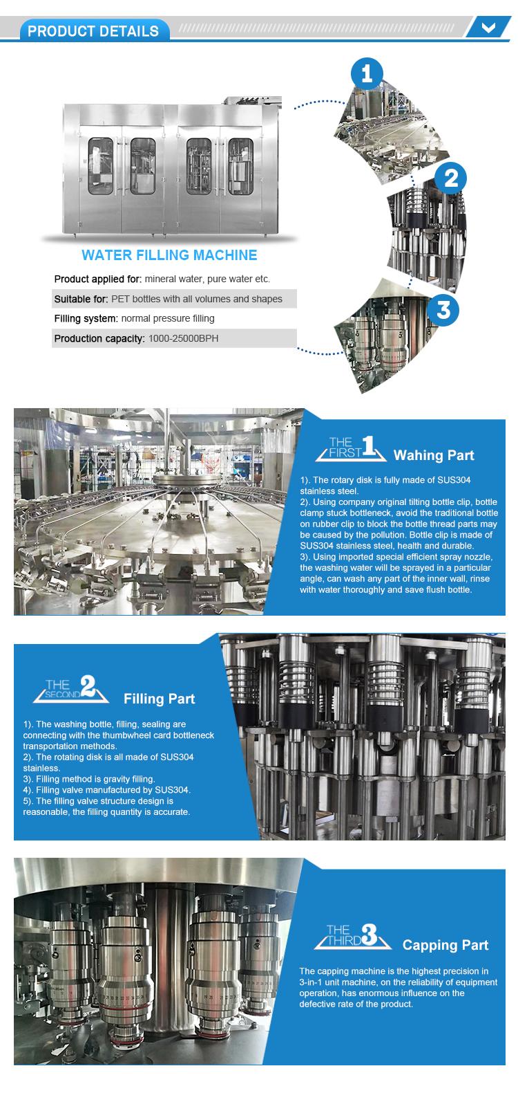 Complète Automatique de Bouteille D'ANIMAL FAMILIER Pur/de Remplissage D'eau Minérale Machine de Production/Ligne/Équipement