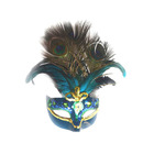 CM-35 Festive Party Supplies High Quality Beautiful Design Blue Feather Masquerade Mask