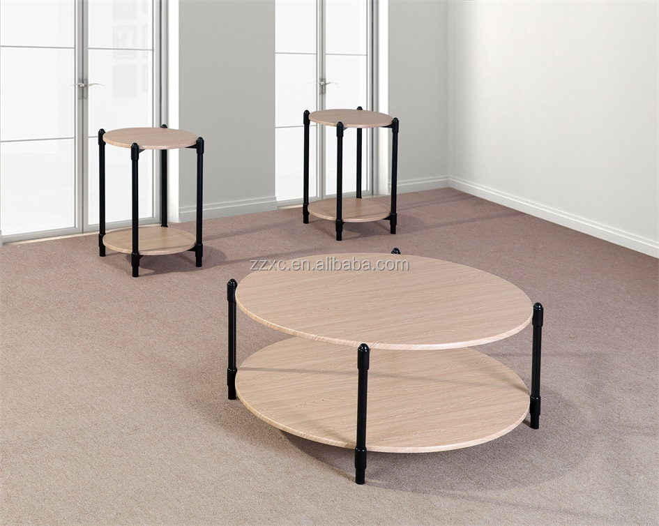 3 Piece Round Coffee Tea Table Set for Living Room