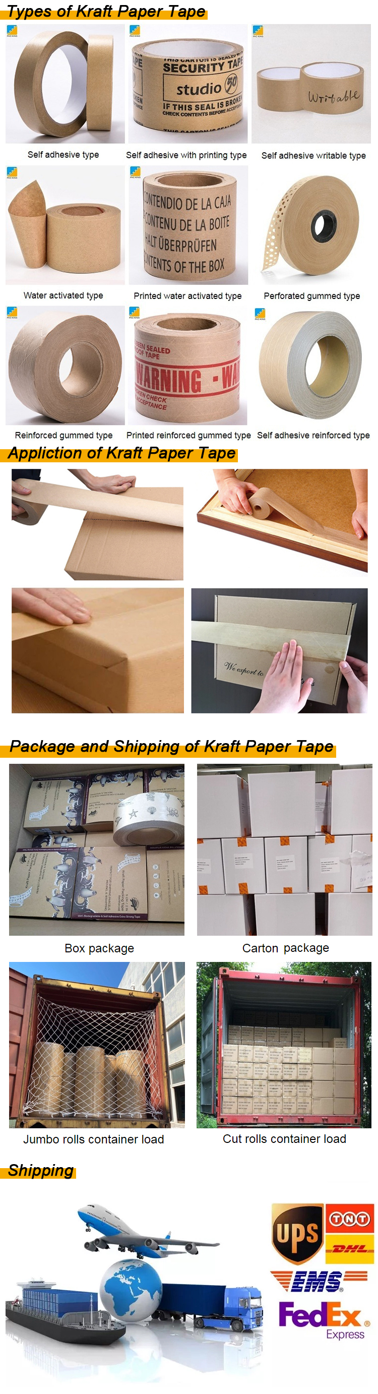 eco friendly custom print with logo packing self adhesive/water activated gummed kraft paper tape