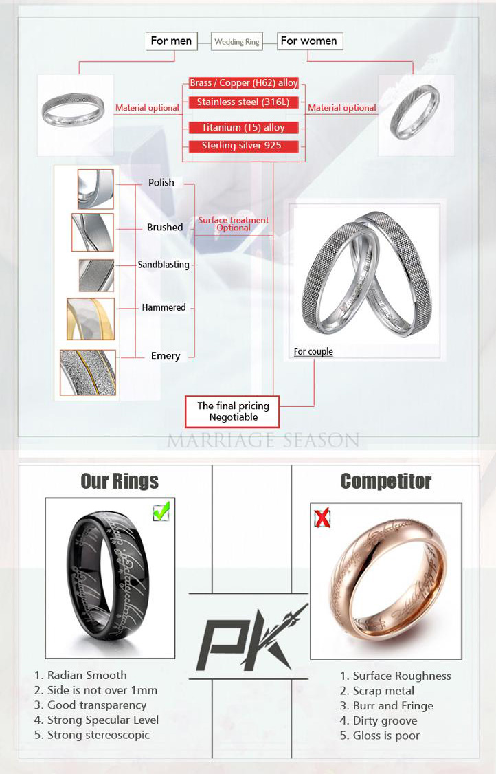 Fashion  925 sterling silver women and men engagement rings wedding  rings