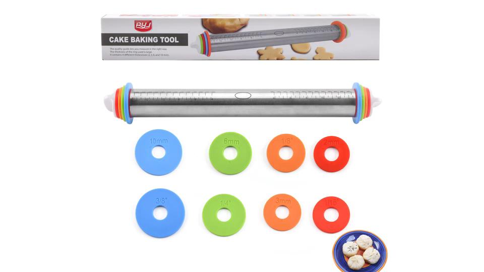 4つの取り外し可能な厚さリングを備えた高さ調節可能なステンレス鋼麺棒
