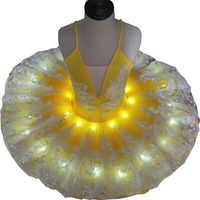 LED Flower Yellow Classical Puffy Professional Ballet Tutu For Girls