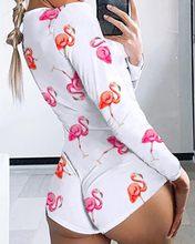 Hirigin сексуальный женский комбинезон с принтом, комбинезон с v-образным вырезом, пижама с длинным рукавом, облегающий короткий комбинезон, но...(Китай)