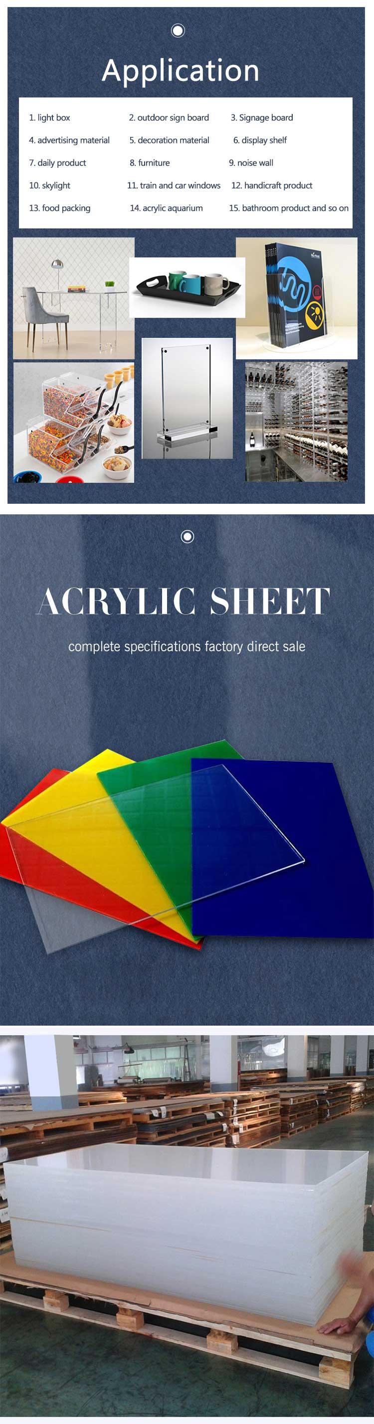 Yageli çin fabrika iyi fiyat perspex tedarikçisi pleksiglas dökme şeffaf 2mm akrilik levha
