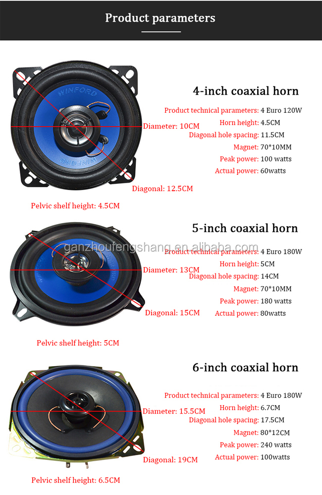 Car Speaker 6 inch Fiberglass Subwoofer Car Door Audio Speakers