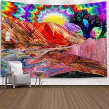 Psychedelic гобелен настенный Декор индийская Мандала хиппи настенный Wandkleed Луна гобелен с изображением деревьев Бохо настенный тканевый пляжны...(Китай)