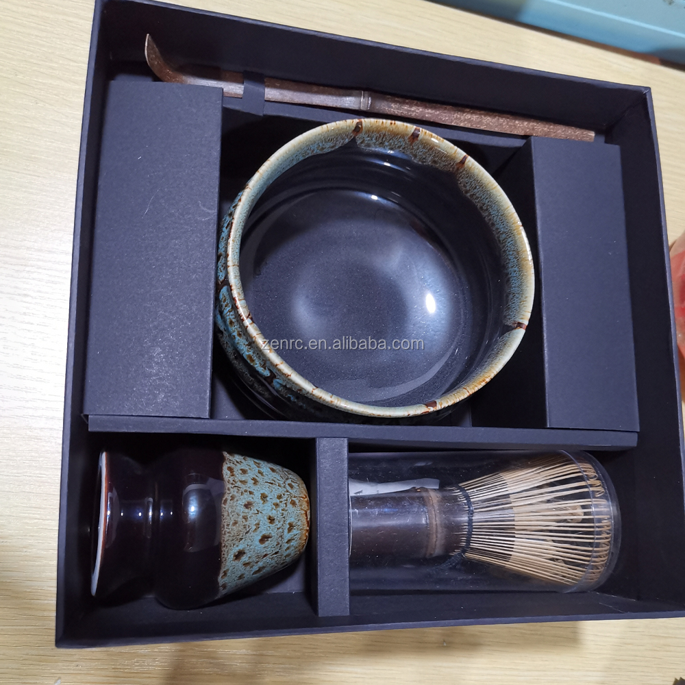 Christmas Promotional Gift Set Matcha Tea Black Matte Bowl, Chasen, Spoon and Holder for Hot Stamping Printing Logo