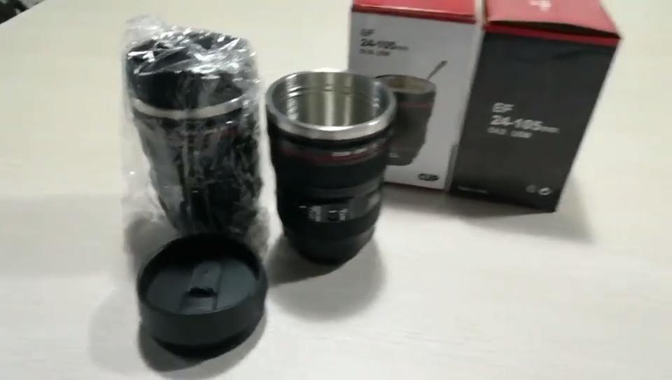 Amazon горячая распродажа экологичная кофейная чашка с объективом из нержавеющей стали 400 мл кружка с объективом для цифровой зеркальной камеры с пользовательским логотипом