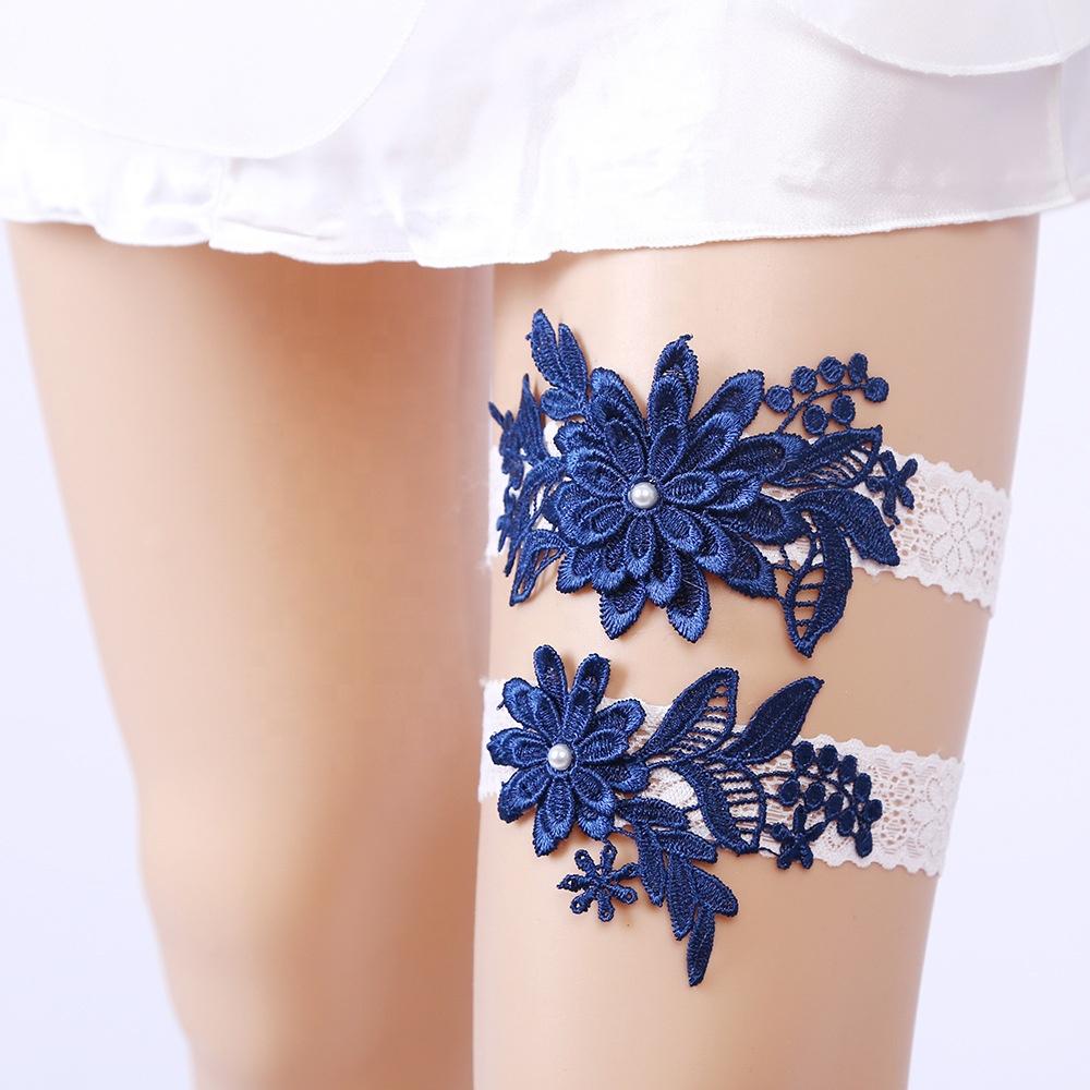 Оптовая продажа кружевная Цветочная аппликация Свадебная подвязка эластичная кружевная лента свадебные подвязки