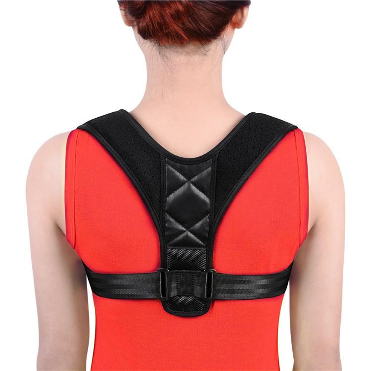 Wholesale Custom Upper Adjustable Posture Corrector Back Support Belts Clavicle Shoulder Humpback Correction Belt For Men Women, Black