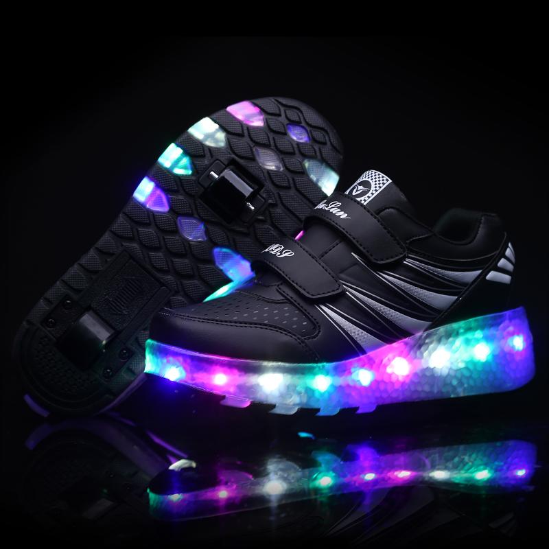 Mode garçons filles rouleau décontracté sport de sport led en gros baskets enfants chaussures avec lumière