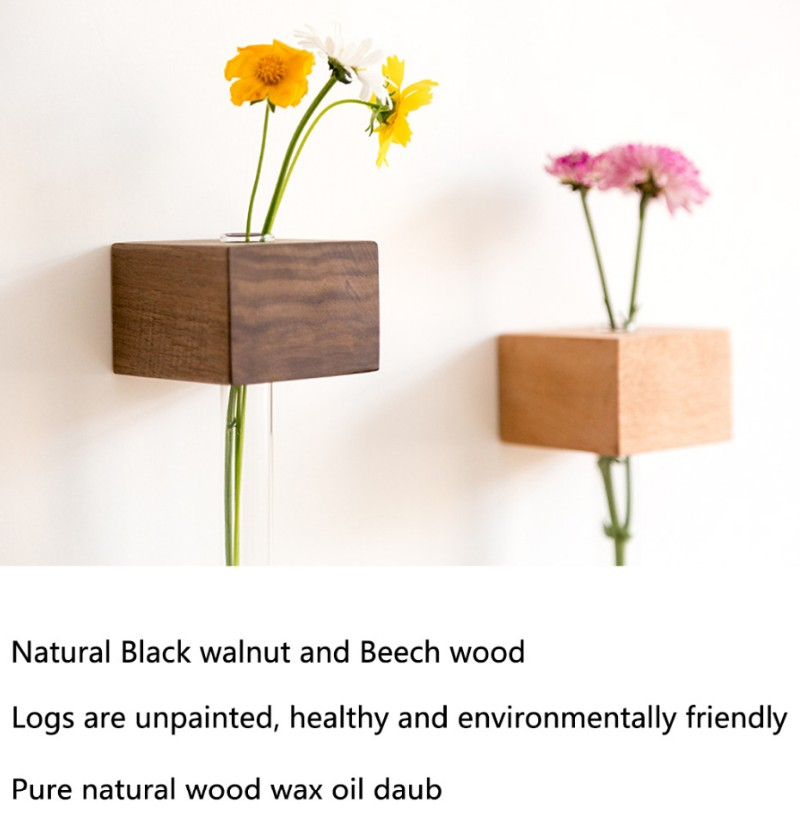 2020 New Wholesale Customized Wall vase Desktop Creative Vase Home Decoration Glass Tube Vase in Wooden Stand