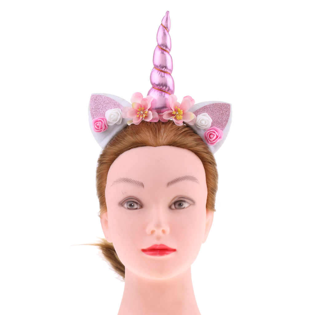2 / Set Unicorn Horn Headband With Mesh Veil Supply Unicorn Costume Girls For Party Fancy Dress