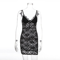 R20196S Women's 2019 new sexy perspective black lace strap dress