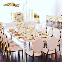 Rectangle metal furniture sets mdf top hotel dining modern event white table