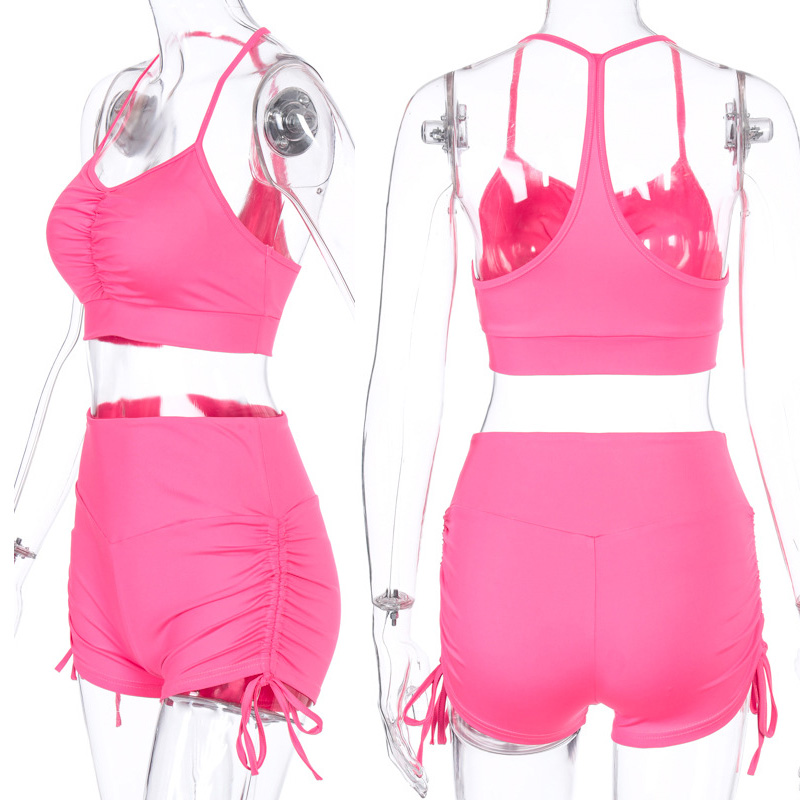 New Fashion Sexy Women drawstring Yoga Suits Workout Sports Strings Vest Bra Short Pants Athletic Short Set