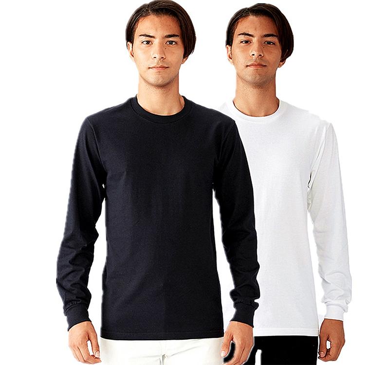 Custom Casual Streetwear Round Neck Printed Black White 100% Cotton Blank Men Long Sleeve T Shirts