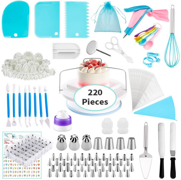 220Pcs Baking Pastry Cake Tools Decorating Supplies Kit Set Accessories Cake Decorating