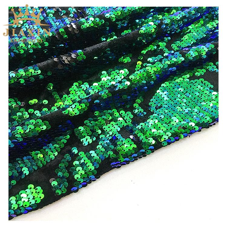 Garment Pul Fabric Velvet Geometric Iridescent Sequin Fabric