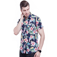 2019 sommer fashion floral print 100% <span class=keywords><strong>baumwolle</strong></span> tops kurzarm <span class=keywords><strong>formale</strong></span> offizielle shirts