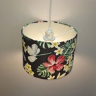Light Print Covers Lighting Covers Handmade Customized E27 Drum Pendant Light Shade-black Colorful Flower Print Lamp Covers