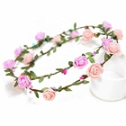 spring tour girls Floral Flower Head Wreath Flower Crown Hair Wreaths Headband For Girls Wedding Party Photography