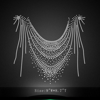 Bling Bling Crystal Neckline Iron on Collar Rhinestone Appliques for Clothes