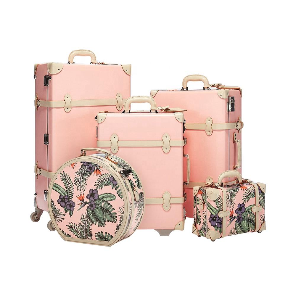 2020 النساء الفاخرة عربة الأمتعة مجموعات للسفر مع ضوء الوردي الأمتعة مع أفضل الجودة و حقيبة سفر متينة