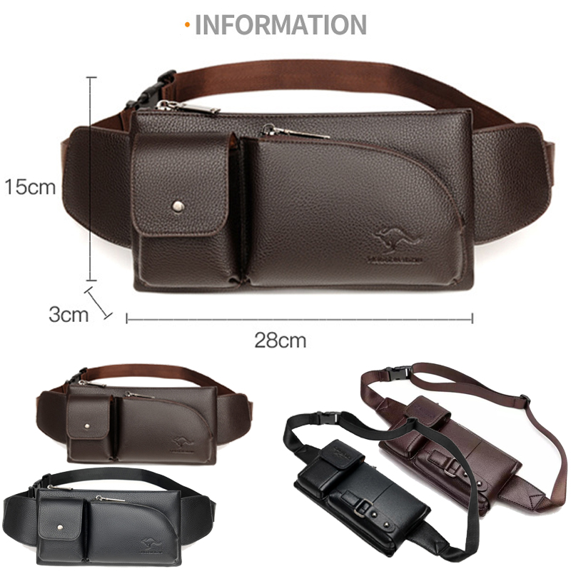 Men Waist Bag European and American vintage leather Fanny pack Personalized Outdoor Sports hiking leisure mini Waist Packs