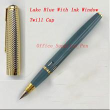 Ручка-фонтанчик Wing Sung 601A, вакуматическая чернильная ручка ярко-синего цвета с чернилами, оконная ручка с изящным наконечником и золотым кол...(Китай)