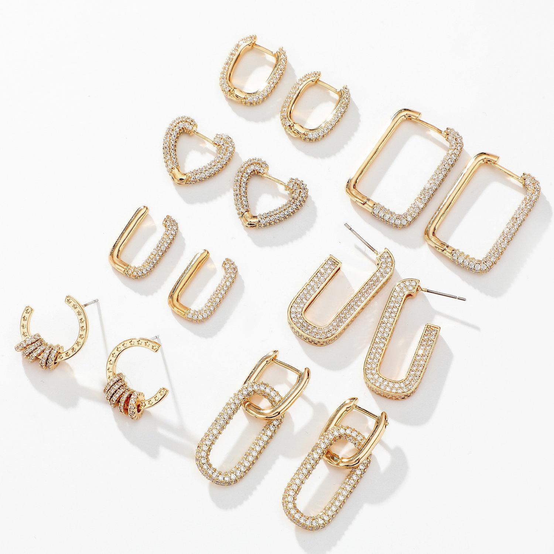 14K Real Gold Plated Brass Cuff Stud Earring Heart square Shiny Full Zircon Diamond Hoop Earrings
