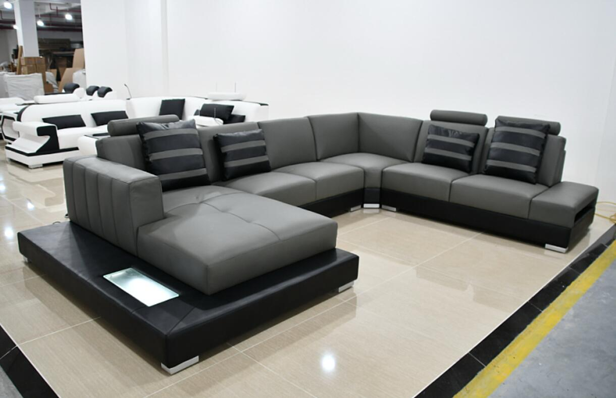 Modern Sectional U-shape Living Room Furniture Genuine Leather Sofa