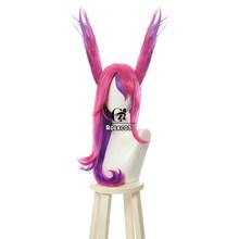 ROLECOS Игра LOL Xayah Косплей волосы уши звезда стражи Xayah Косплей длинный головной убор LOL смешанный розовый фиолетовый Синтетический волос для ж...(Китай)
