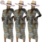 9090214 new sexy long sleeve animal skin print midi bodycon design woman fashion striped maxi casual dresses