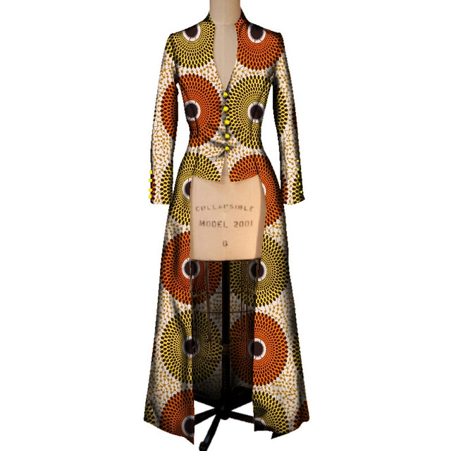 Traditional African Coat for Women Print Top Women Maxi Outwear Trench Coat Womens Dashikis Brand Clothing 6XL BRW WY2405