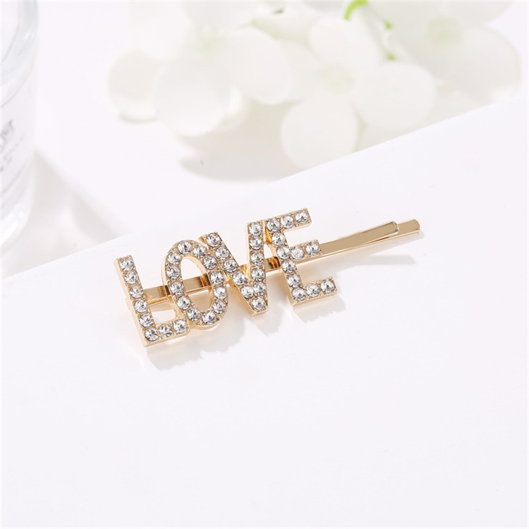 Custom Fashion Hair Clip Rhinestone Alloy Wholesale Women Bling Crystal English Letter Hairpin
