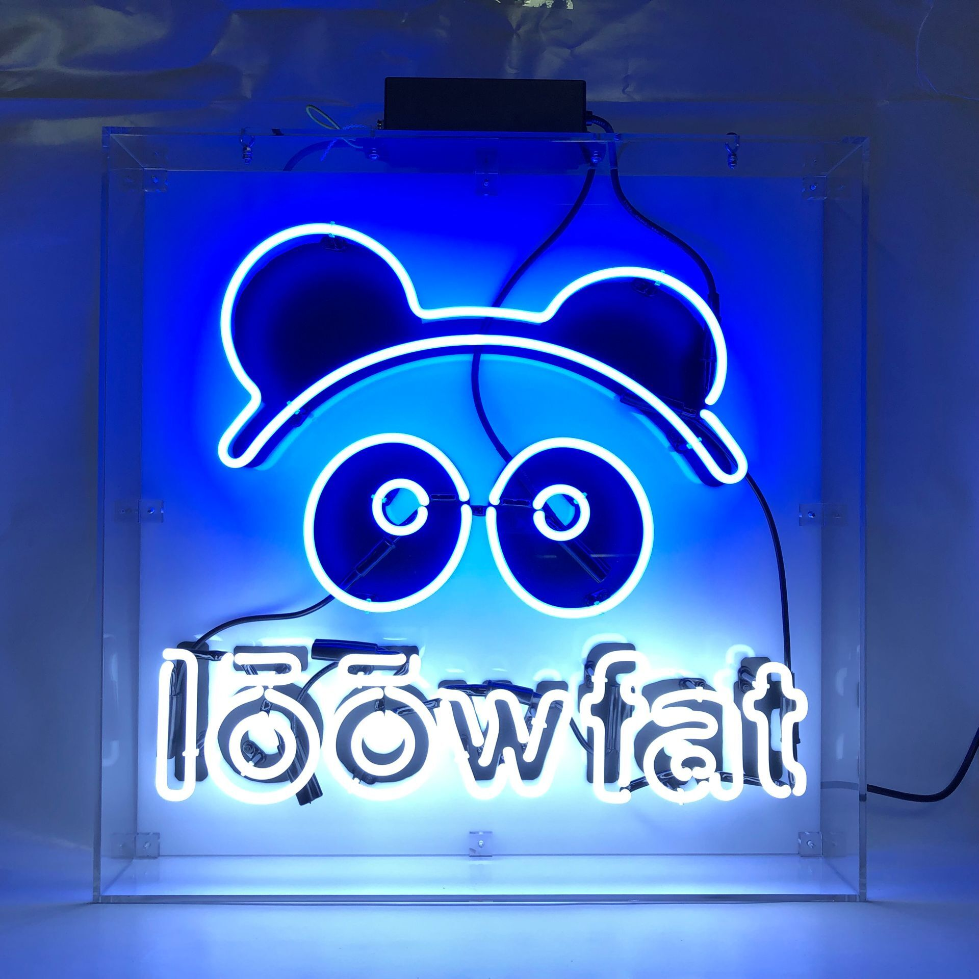 OEM custom neon sign glass neon light printing logo in clear acrylic box china suppliers E