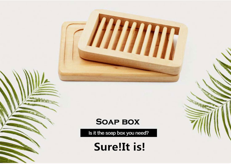 Double Layer Unpolished Natural Bamboo Wooden Soap Box Eco-Friendly Soap Holder Racks 5