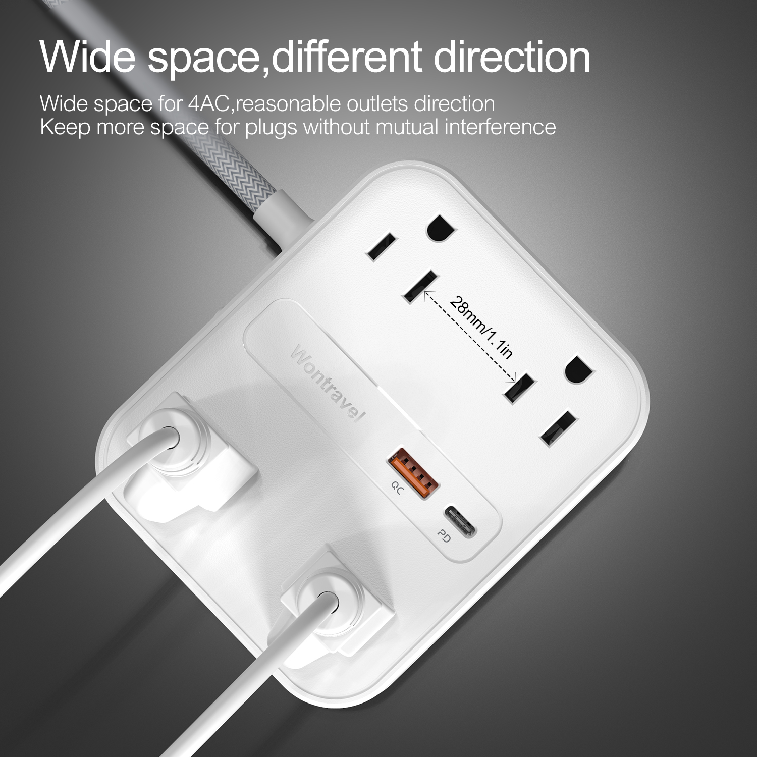 4 outlets US Power Strip Surge Protector Extension Board Socket PD USB Tabletop Wall Outlet