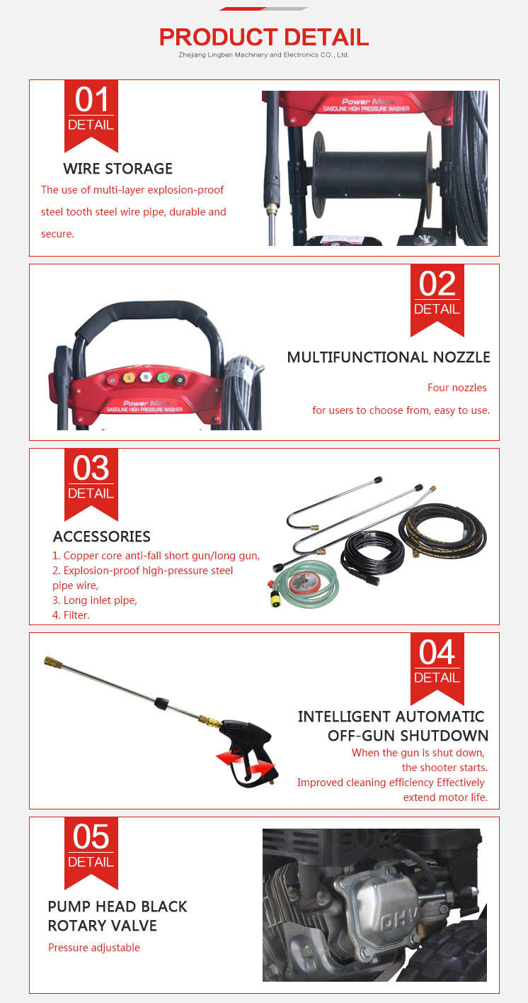 Factory Direct Price Petrol Gasoline Power Car High Pressure Washer With CE