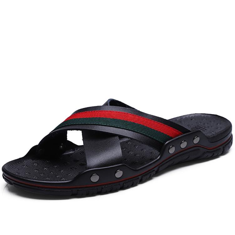 Yeni tasarım terlik flip flop erkekler sandalet için inek deri üst lastik terlik yüksek kaliteli mokasen moda rahat ayakkabılar