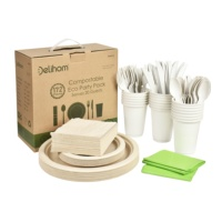 172 Pieces Compostable Eco Party Set Serves 20 Guests Eco-Friendly Tableware Set Biodegradable Disposable Dinnerware Set