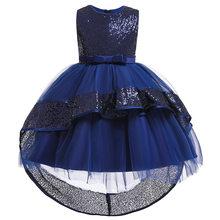 2020 платья для девочек для вечеринки и свадьбы с бантом, детское платье со шлейфом платье принцессы с блестками платье для маленьких девочек ...(China)