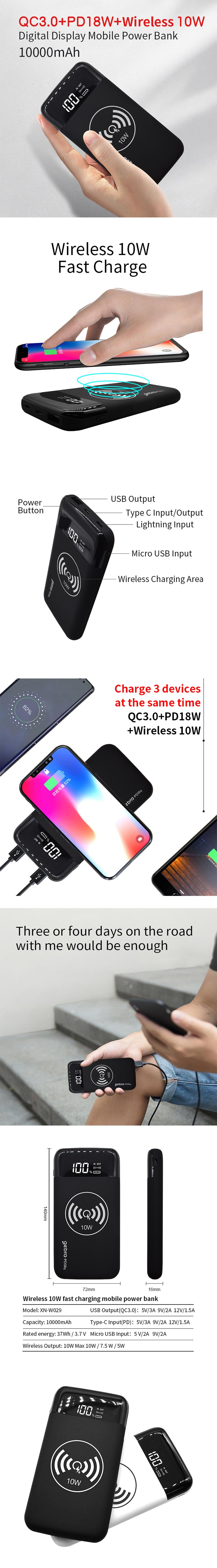 Best selling products 2020 in europe wireless mobile charger mini wireless PD power bank 10000mah With Custom Logo LCD Digital