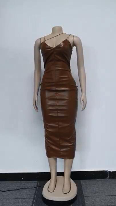 Fiesta Vestidos de las mujeres sexy vendaje vestido de cuero Honda de la rodilla-longitud damas club de Noche Vestidos maxi
