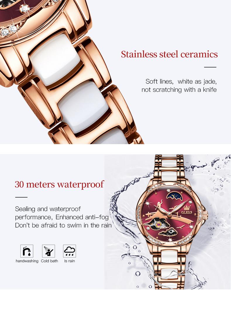 Woman Rose Gold Ceramic Stainless Steel Watch Simple Dress  - 1MRK.COM