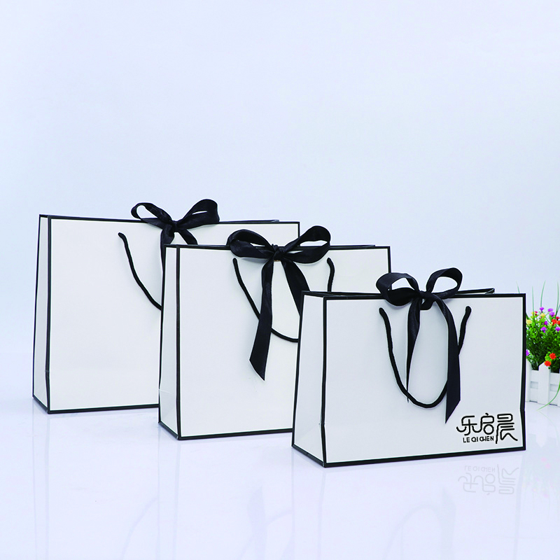 product-Black White Simple Generous 10 X 5 X 13 Custom Size Gift Paper Bags With Handles For Jewelry